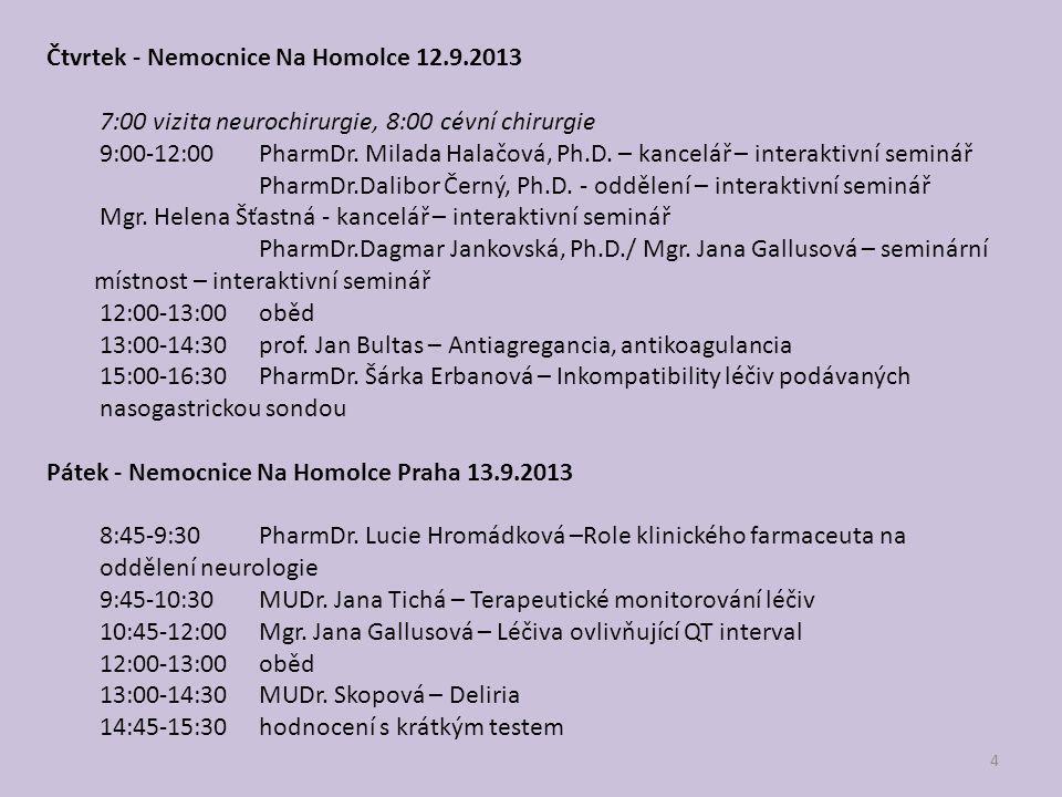 Čtvrtek - Nemocnice Na Homolce 12.9.2013