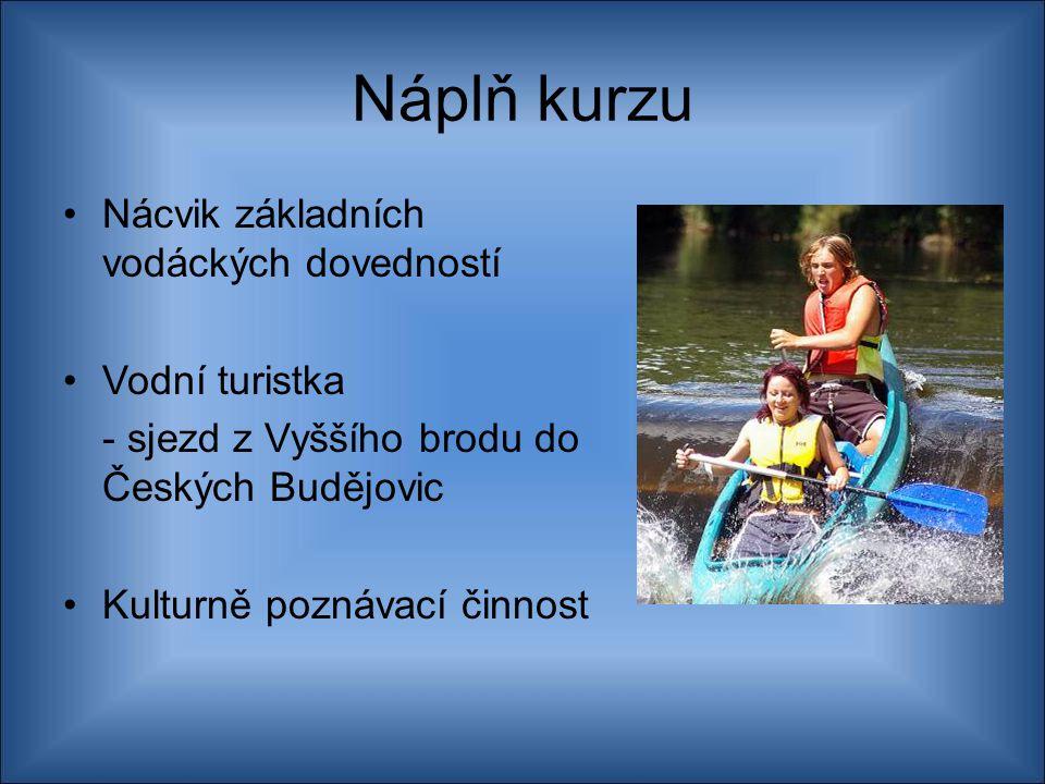Náplň kurzu Nácvik základních vodáckých dovedností Vodní turistka