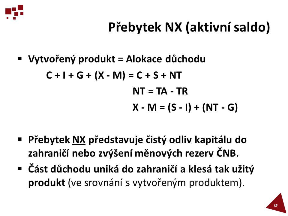 Přebytek NX (aktivní saldo)