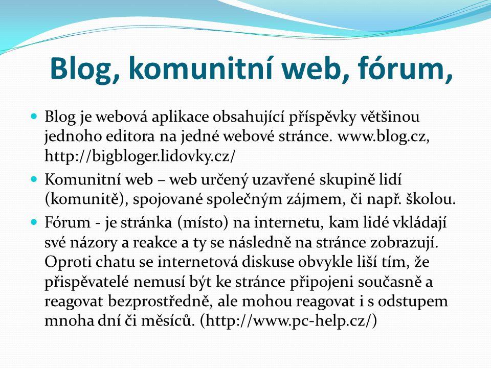 Blog, komunitní web, fórum,