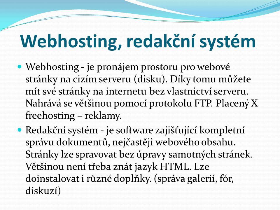 Webhosting, redakční systém
