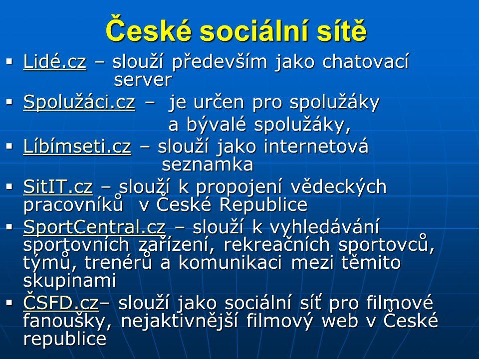 České sociální sítě Lidé.cz – slouží především jako chatovací server