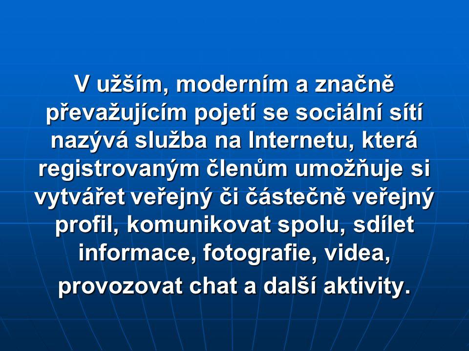 V užším, moderním a značně převažujícím pojetí se sociální sítí nazývá služba na Internetu, která registrovaným členům umožňuje si vytvářet veřejný či částečně veřejný profil, komunikovat spolu, sdílet informace, fotografie, videa, provozovat chat a další aktivity.