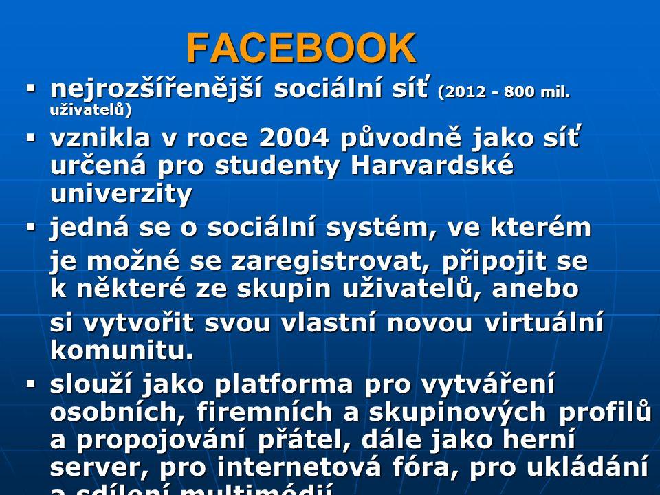 FACEBOOK nejrozšířenější sociální síť (2012 - 800 mil. uživatelů)