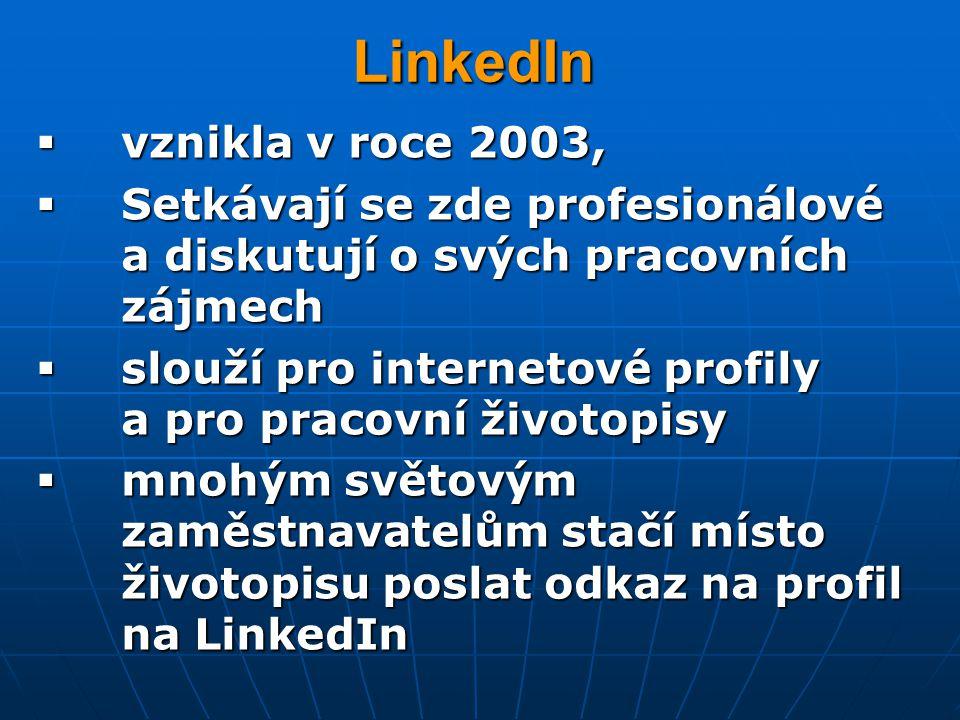 LinkedIn vznikla v roce 2003,