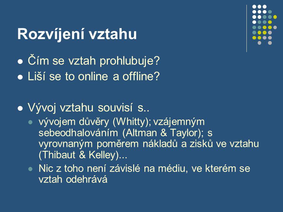 Rozvíjení vztahu Čím se vztah prohlubuje Liší se to online a offline