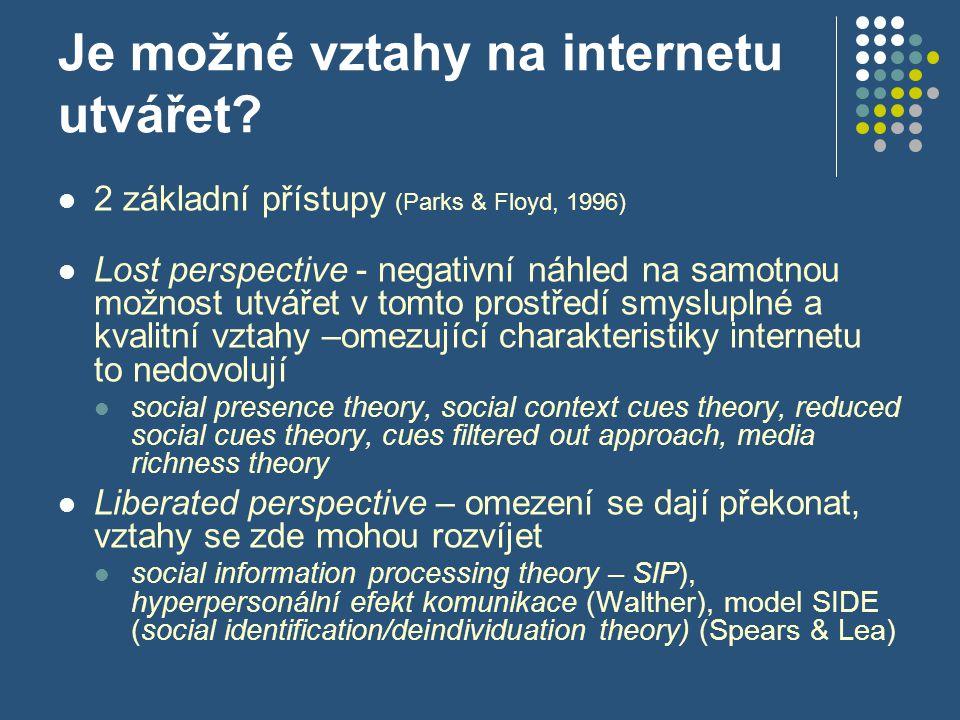 Je možné vztahy na internetu utvářet