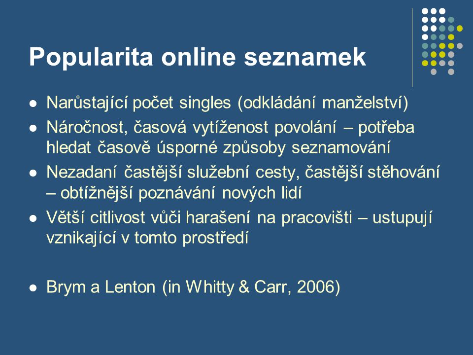 Popularita online seznamek