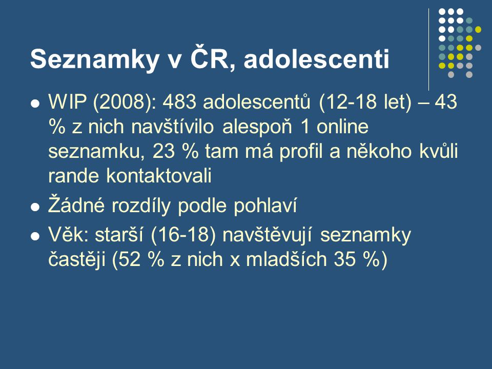 Seznamky v ČR, adolescenti