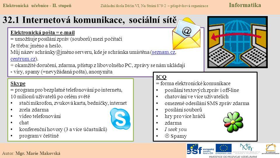 32.1 Internetová komunikace, sociální sítě