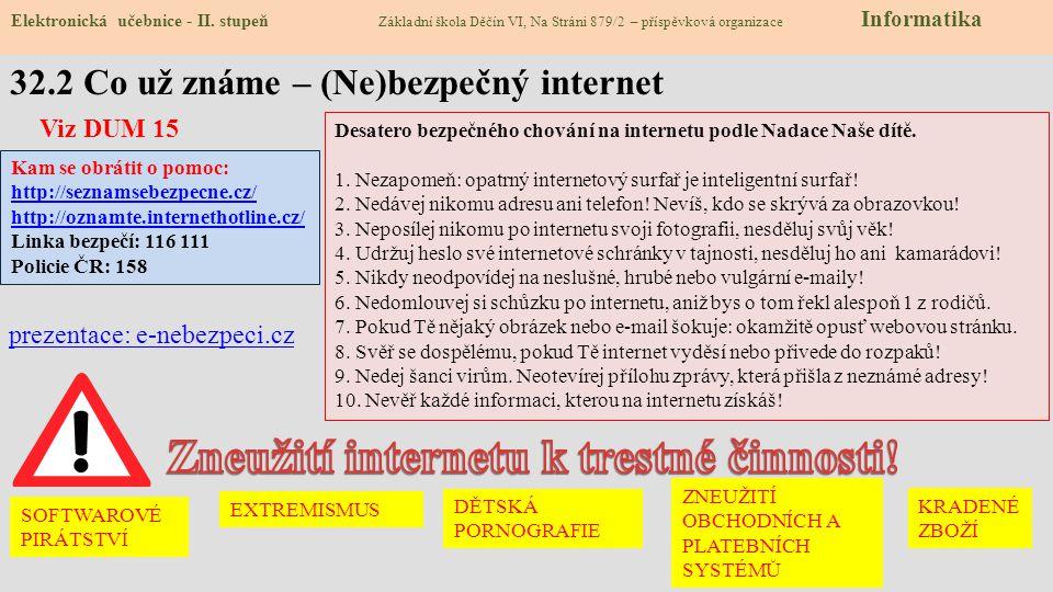 32.2 Co už známe – (Ne)bezpečný internet