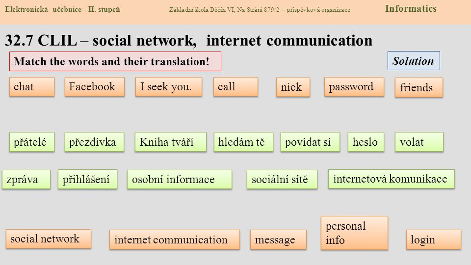 32.7 CLIL – social network, internet communication