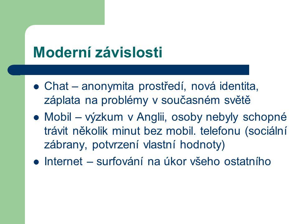 Moderní závislosti Chat – anonymita prostředí, nová identita, záplata na problémy v současném světě.