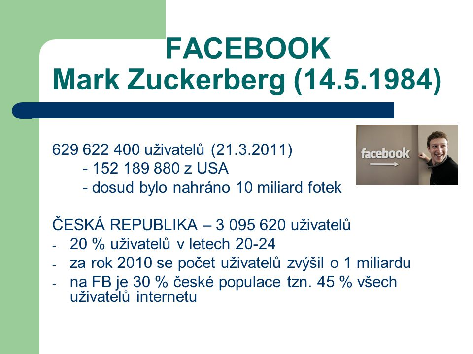 FACEBOOK Mark Zuckerberg (14.5.1984)