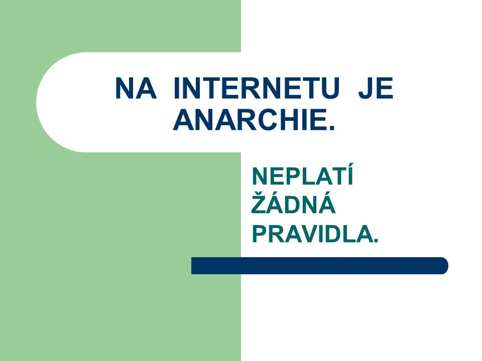 NA INTERNETU JE ANARCHIE.