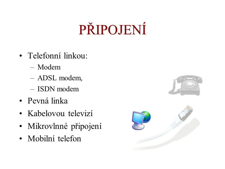 PŘIPOJENÍ Telefonní linkou: Pevná linka Kabelovou televizí