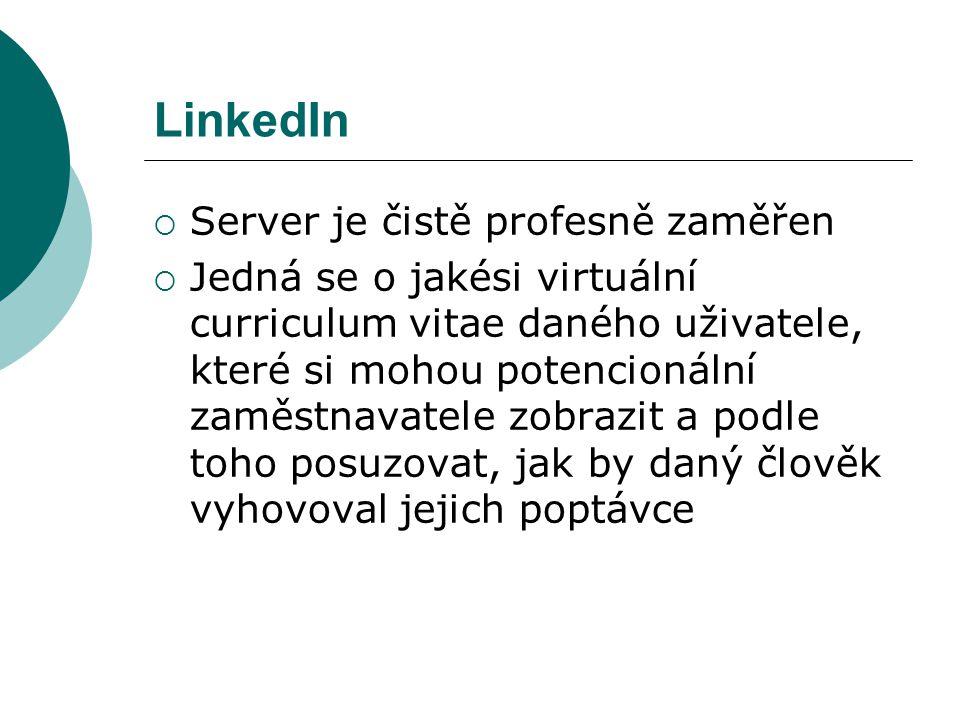 LinkedIn Server je čistě profesně zaměřen