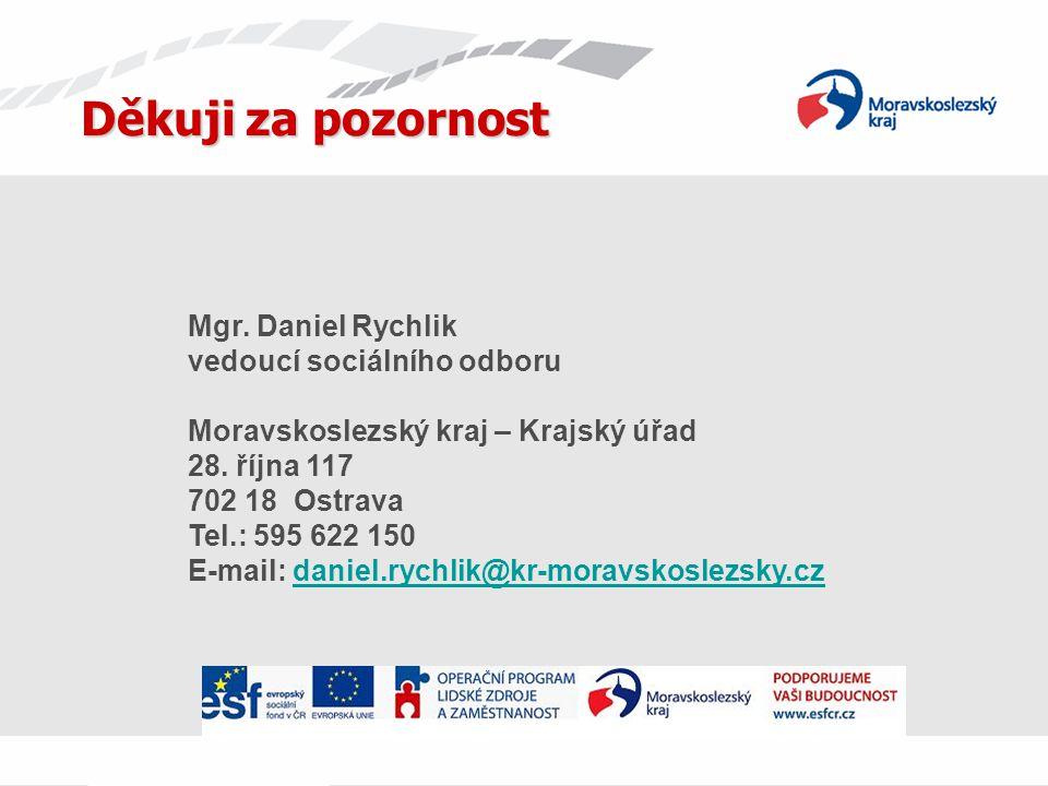 Děkuji za pozornost Mgr. Daniel Rychlik vedoucí sociálního odboru