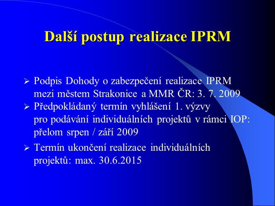 Další postup realizace IPRM