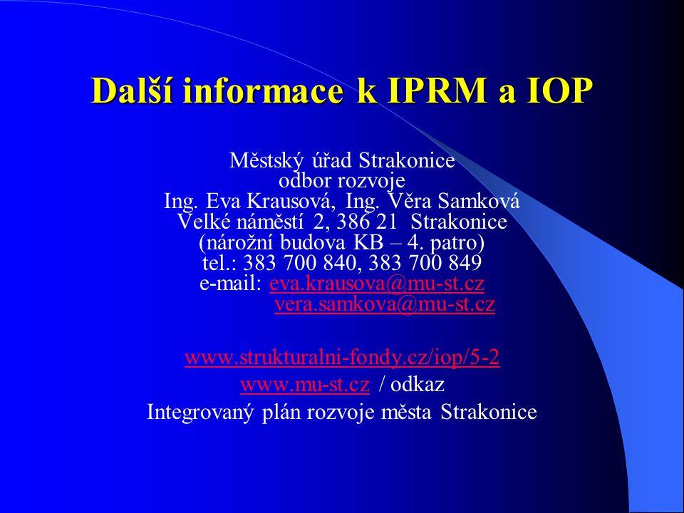 Další informace k IPRM a IOP