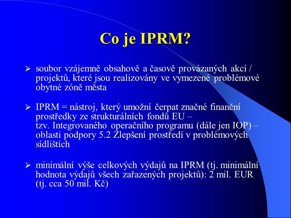 Co je IPRM soubor vzájemně obsahově a časově provázaných akcí / projektů, které jsou realizovány ve vymezené problémové obytné zóně města.