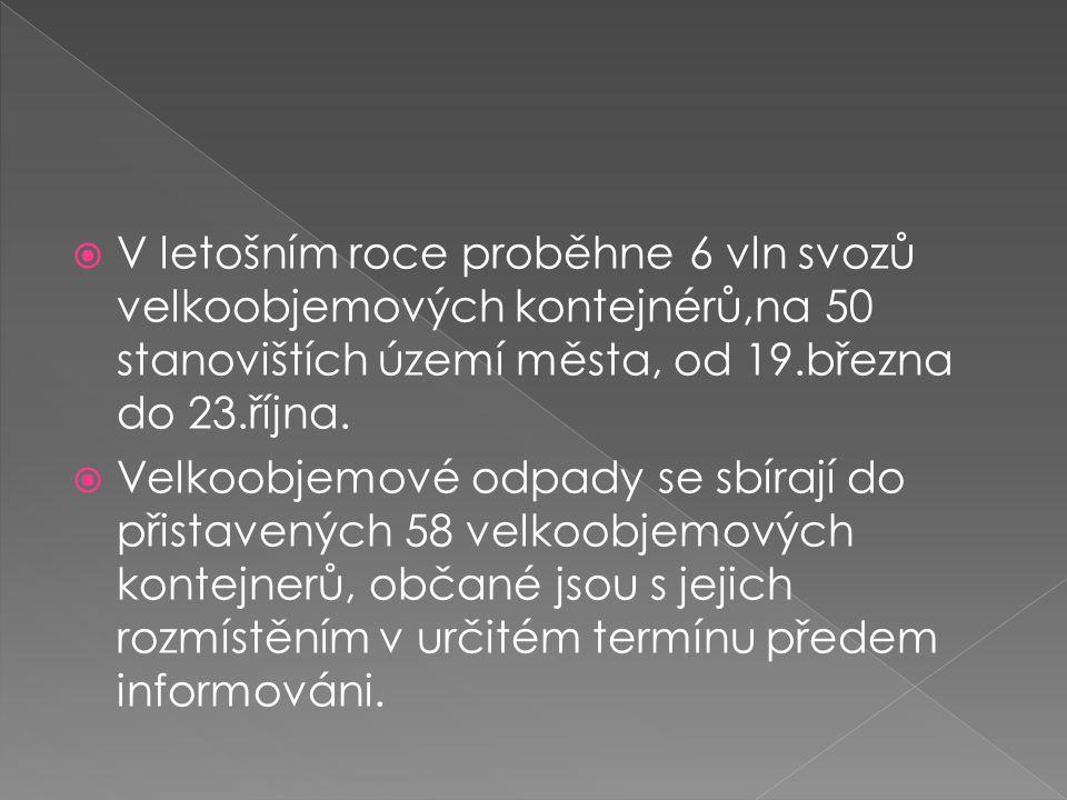 V letošním roce proběhne 6 vln svozů velkoobjemových kontejnérů,na 50 stanovištích území města, od 19.března do 23.října.