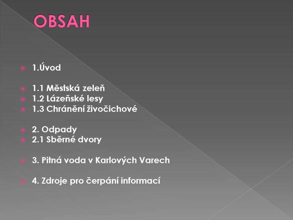 OBSAH 1.Úvod 1.1 Městská zeleň 1.2 Lázeňské lesy
