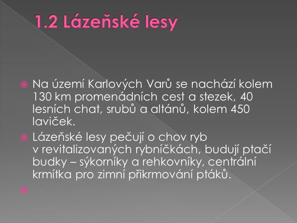 1.2 Lázeňské lesy Na území Karlových Varů se nachází kolem 130 km promenádních cest a stezek, 40 lesních chat, srubů a altánů, kolem 450 laviček.