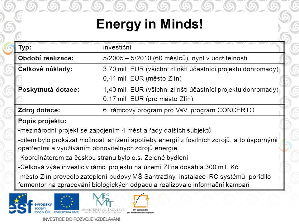 Energy in Minds! Typ: investiční Období realizace: