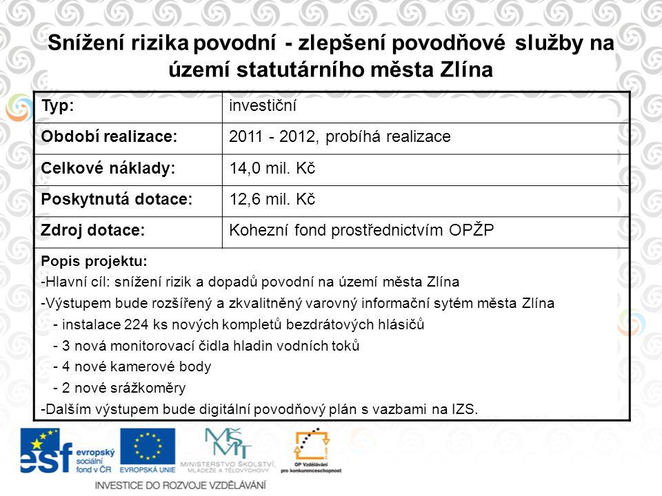 Snížení rizika povodní - zlepšení povodňové služby na území statutárního města Zlína