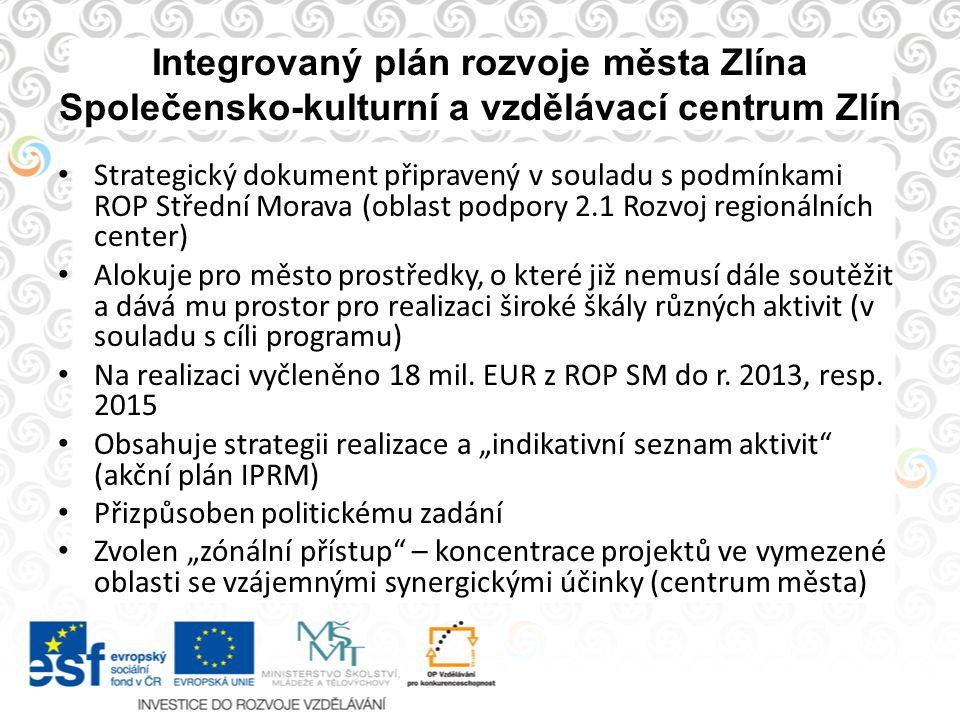 Integrovaný plán rozvoje města Zlína Společensko-kulturní a vzdělávací centrum Zlín