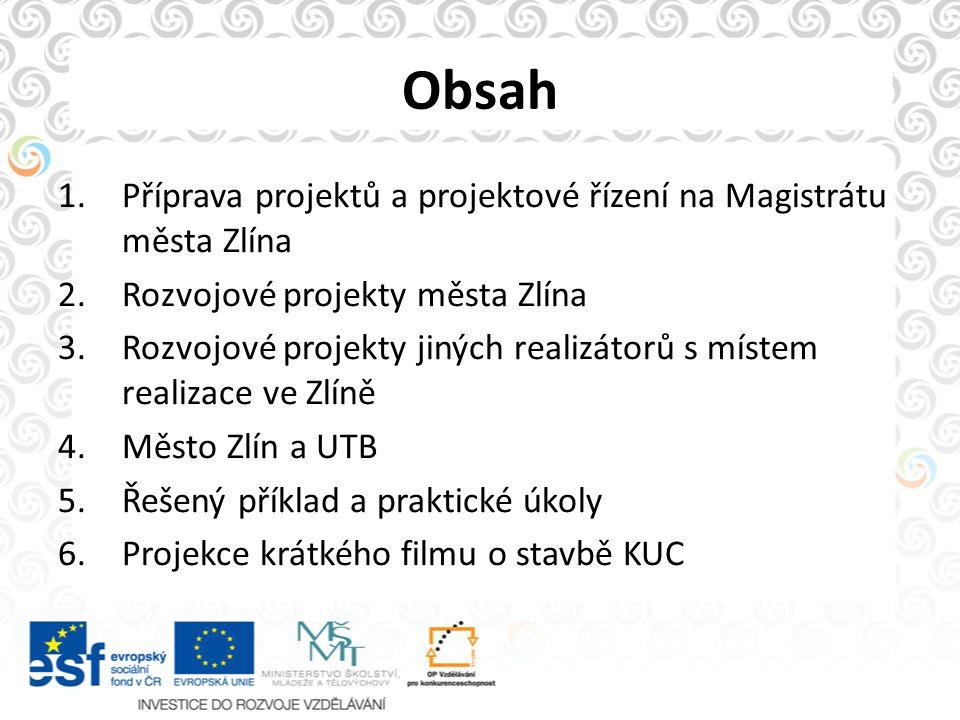 Obsah Příprava projektů a projektové řízení na Magistrátu města Zlína