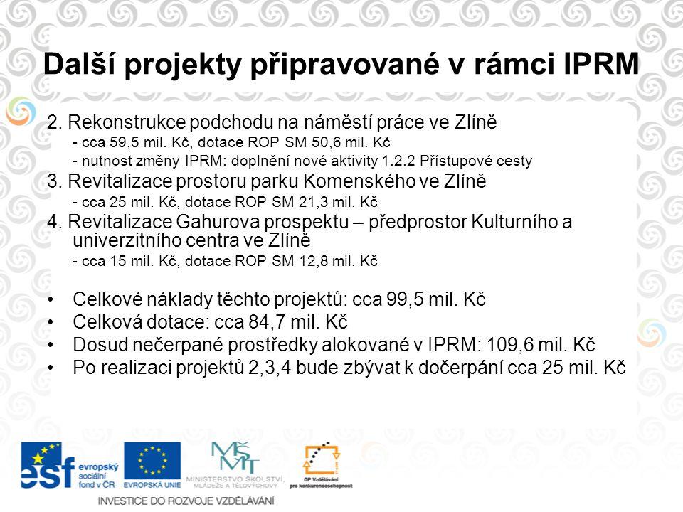 Další projekty připravované v rámci IPRM