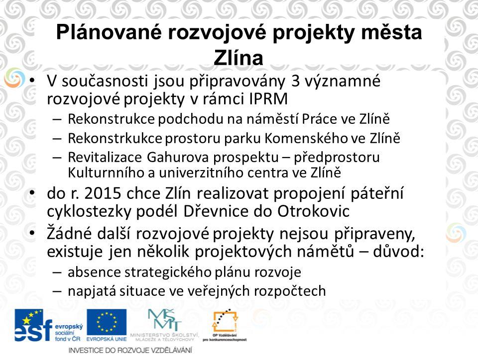 Plánované rozvojové projekty města Zlína