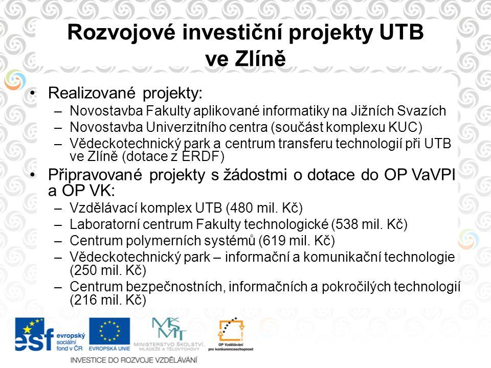 Rozvojové investiční projekty UTB ve Zlíně