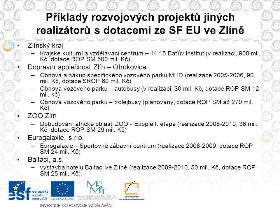 Příklady rozvojových projektů jiných realizátorů s dotacemi ze SF EU ve Zlíně