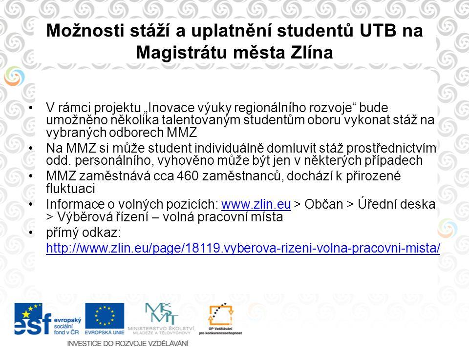 Možnosti stáží a uplatnění studentů UTB na Magistrátu města Zlína