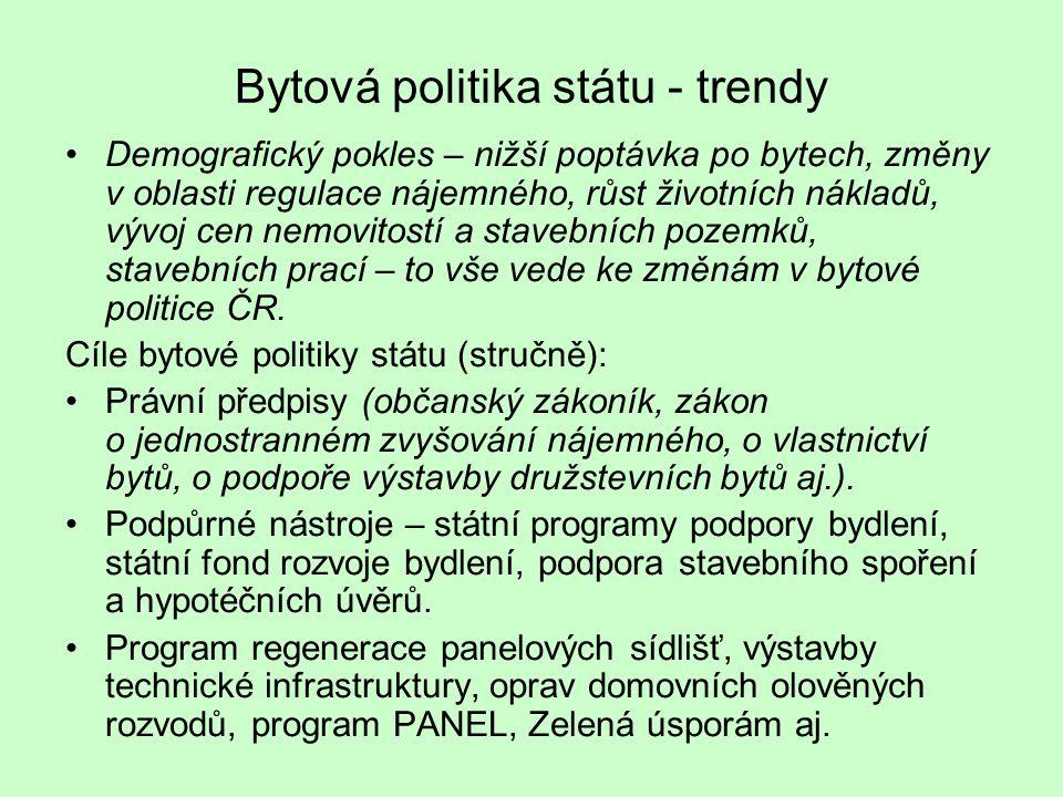 Bytová politika státu - trendy