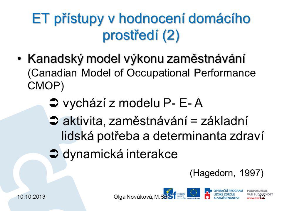 ET přístupy v hodnocení domácího prostředí (2)