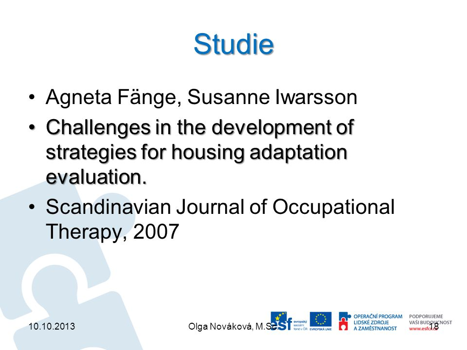 Studie Agneta Fänge, Susanne Iwarsson