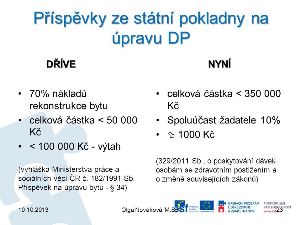 Příspěvky ze státní pokladny na úpravu DP