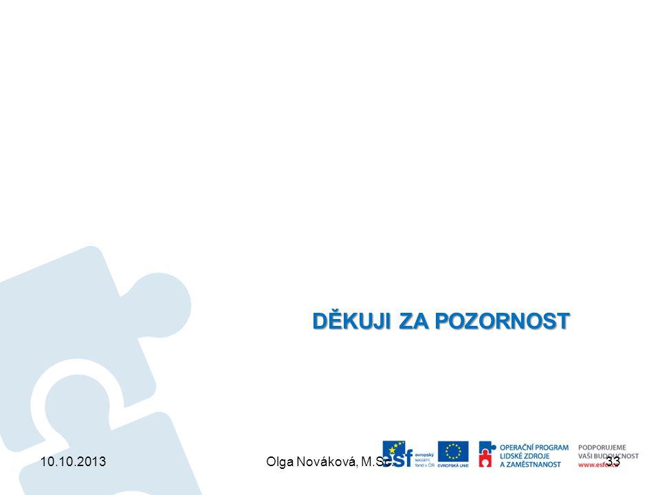 DĚKUJI ZA POZORNOST 10.10.2013 Olga Nováková, M.Sc.