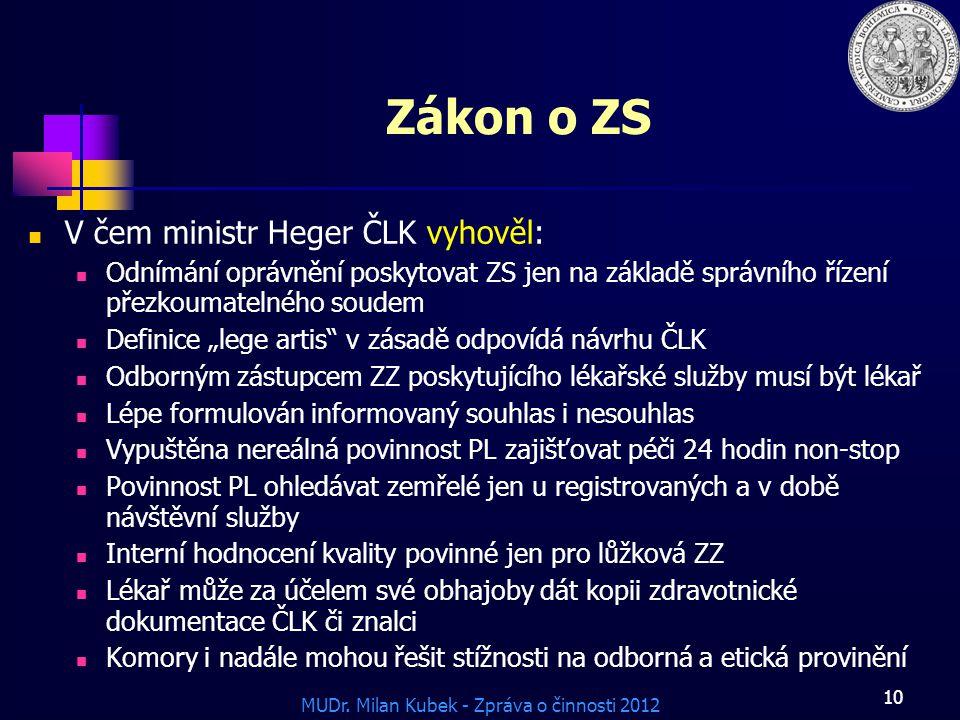 Zákon o ZS V čem ministr Heger ČLK vyhověl: