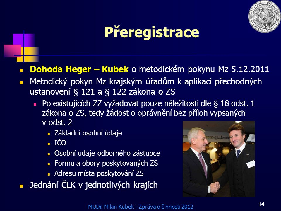 Přeregistrace Dohoda Heger – Kubek o metodickém pokynu Mz 5.12.2011