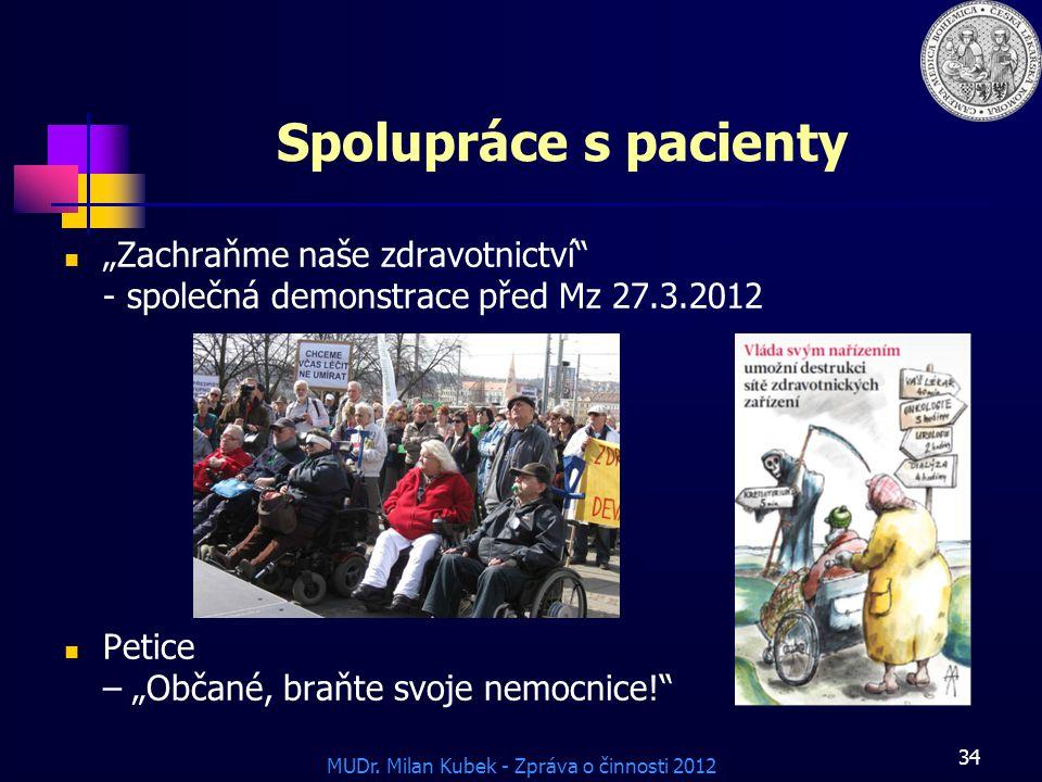 """Spolupráce s pacienty """"Zachraňme naše zdravotnictví - společná demonstrace před Mz 27.3.2012."""