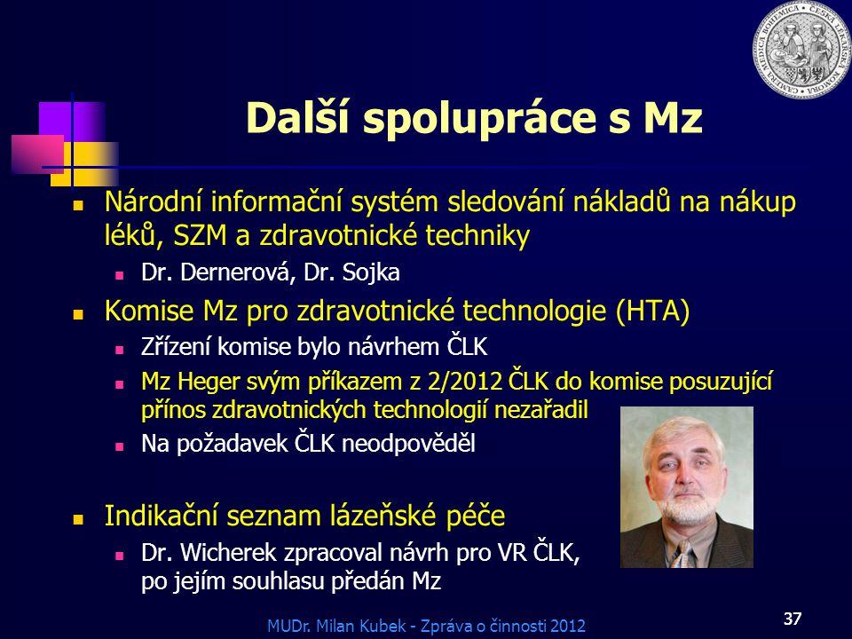 Další spolupráce s Mz Národní informační systém sledování nákladů na nákup léků, SZM a zdravotnické techniky.