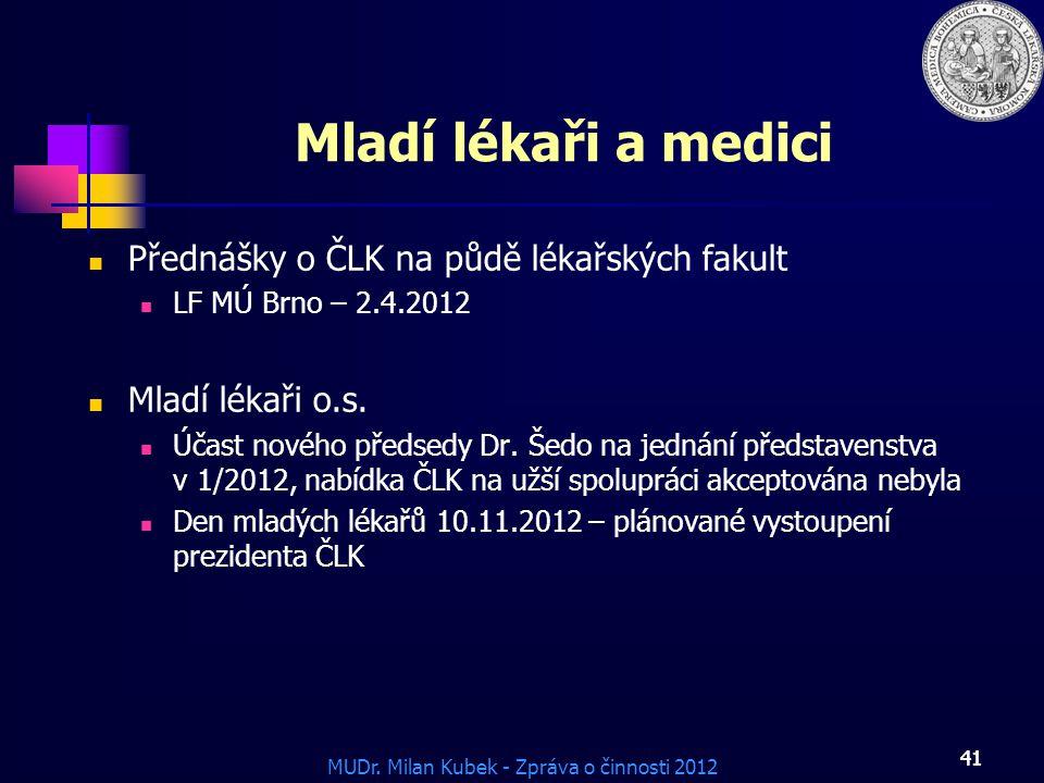 Mladí lékaři a medici Přednášky o ČLK na půdě lékařských fakult