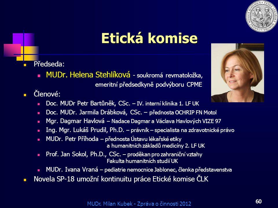 Etická komise MUDr. Helena Stehlíková - soukromá revmatoložka,