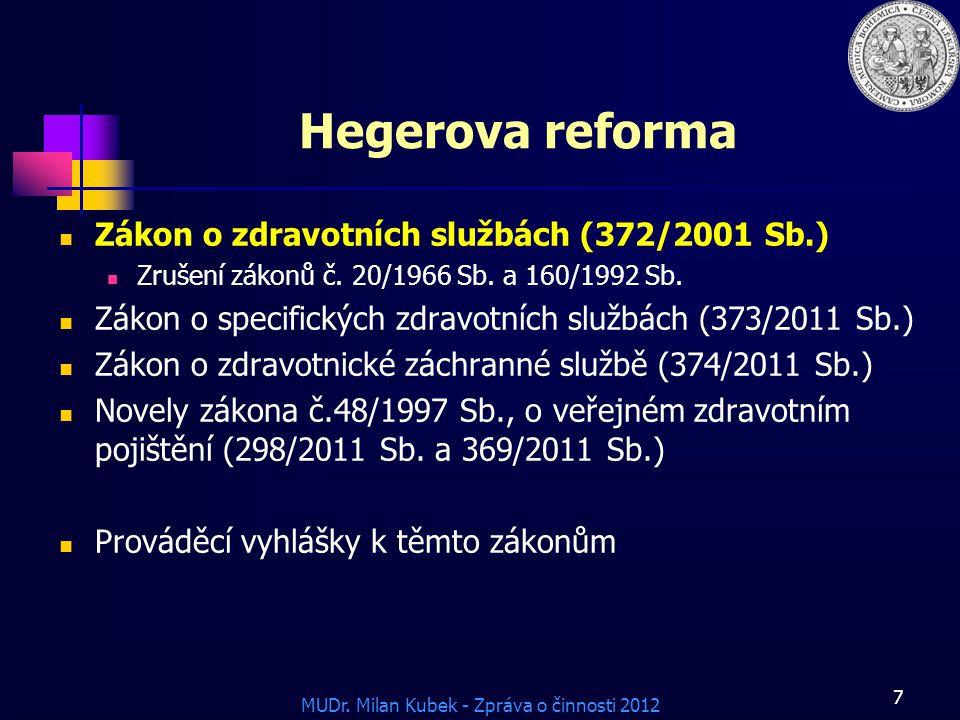 Hegerova reforma Zákon o zdravotních službách (372/2001 Sb.)