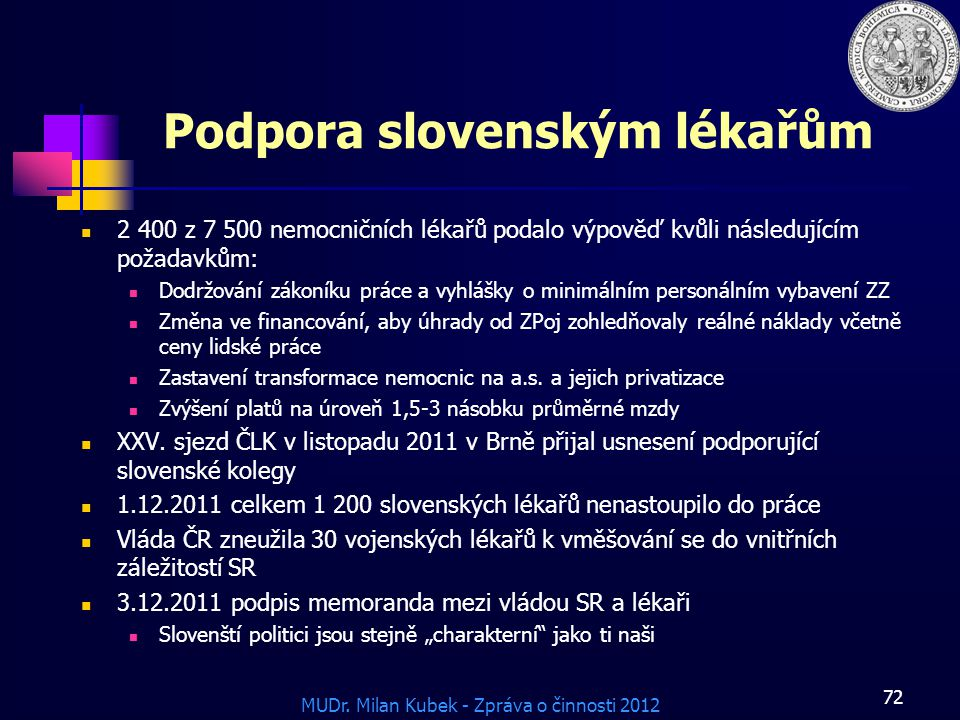 Podpora slovenským lékařům